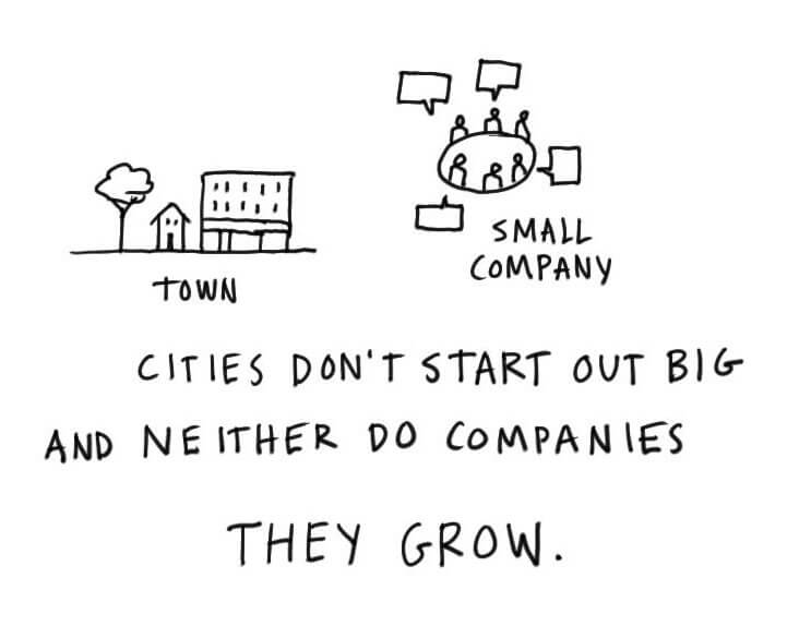 Cities don't start out big and neither do companies. They grow.