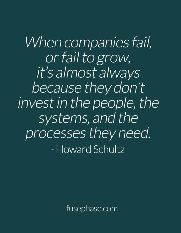"When companies fail, or fail to grow, it's almost always because they don't invest in the people, the systems, and the processes they need."" - Howard Schultz"